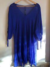 Empire Rose sheer cobalt tunic dress size 14