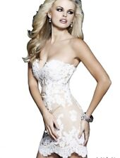 Preowned Sherri Hill Short Ivory/Nude Lace Prom Bridal Dress 21187,Size 6,$650