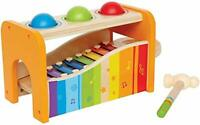 Yellow Hape Pound Tap Bench with Slide Out Xylophone Wooden Musical Pounding Toy