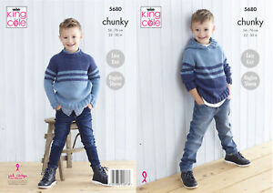 King Cole Boys Chunky Knitting Pattern Easy Knit Sweater & Hooded Jumper 5680
