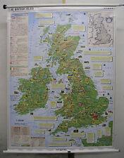 Murs carte belle vieille Anglais British Isles basic facts 115x152cm vintage