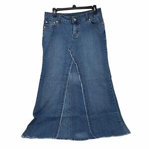 Younique Size 11 Womens Long Maxi Denim Jean Skirt Raw Hem Pockets Medium Wash