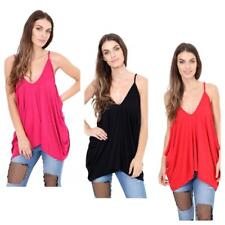 WOMEN BAGGY V NECK LAGEN LOOK TOP LADIES ROMPER V NECK LOOSE BAGGY VEST