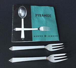 GEORG JENSEN PYRAMID 2 VTG Pastry Cake Oyster Forks Sterling Silver 5.5 IN No 43