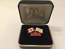 Vintage McDonald's & Canada Flags 110% Pin with Hard Shell Box