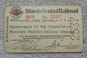 1909 IC RR Illinois Central Railroad Pass