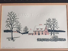 Bless This House Pink Farmhouse In Winter Embossed Print Signed Numbered 163/250