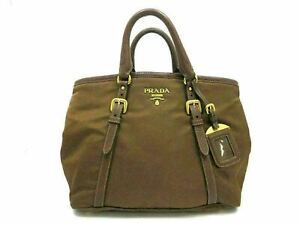 Authentic PRADA Hand Bag Nylon Leather Brown With Dust Bag Good 90486