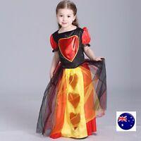 Kid Girl Child Halloween Red Queen Heart Alice Party Fancy Costume Dress Up 7-9y