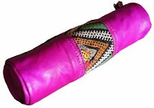 Moroccan Pen Pencil Case Cosmetic Make Up Leather Organizer Pouch Magenta