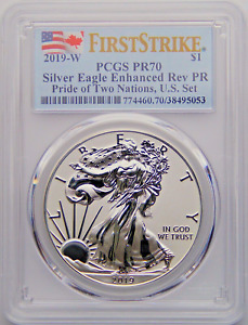2019 W $1 Enhance Reverse Proof Silver Eagle PCGS PF70 FS Pride of Two Nations
