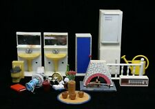 1970'S Lundy Sweden Dollhouse Accessories - Lamps, Fireplace, Radio etc.