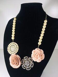 Accessorize Retro Style Rose & Faux Pearl Necklace - Fabric - Plastic - Jewlerry
