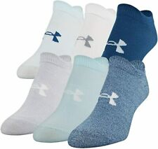 UNDER ARMOUR ESSENTIAL NO SHOW SOCKS 6-PAIRS Women's Petrol Blue Medium Size 6-9