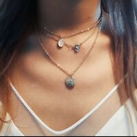 Fashion Multilayer Choker Necklace Sun Crystal Pendant Chain Gold Women Jewelry
