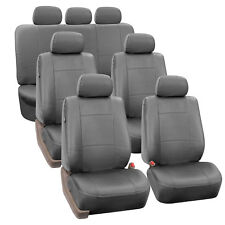 3 Row PU Leather Seat Covers for SUV Van 7 Seaters Universal Fit Solid Gray