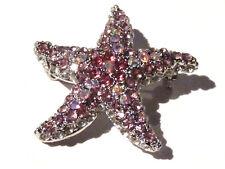 Bijou alliage argenté broche étoile de mer cristal multicolore astéride brooch