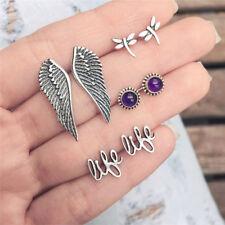 4Pairs/Set Vintage Boho Stud Earrings Dragonfly Wings Letter Women Jewelry Gifts