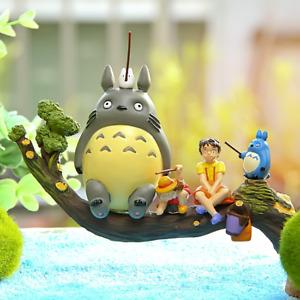 5pcs/set Tonari no Totoro Fishing Resin decoration doll Anime action figure Toy