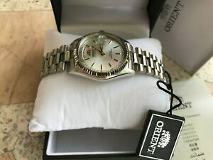 Orient Automatic Day Date All Silver Presidents  HOMAGE Watch, Japan, RARE!