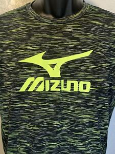 "Mizuno Quick Dry Plus Women's Athletic Shirt Size L 16"" X 24"" Black Green Logo"