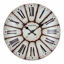 Shabby Chic Metal Domed Antique Cream Roman Dial Wall Clock W7711