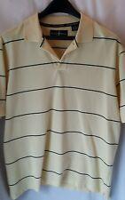 Arnold Palmer L Mens Golf Polo Shirt Yellow & Blue Striped Short Sleeve Large