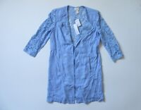 NWT Chico's Lovely Lace Mix Duster in Pale Parisian Blue Open Front Jacket 0 / 4