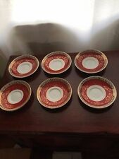 Vintage Royal Stafford Saucer in Burgundy and Gold Lace, 6 Available