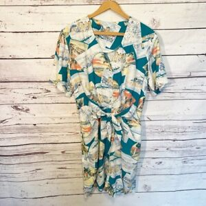 Vintage Women's Hawaiian Print Vacay Front Tie Romper Shorts Tourist Hawaii