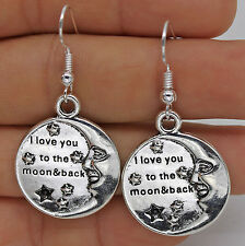 """925 Silver Plated Hook - Moon Round """"I Love You to the Moon & Back"""" Earrings #61"""