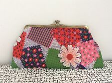 60s 70s Vintage Retro Kitsch Purse Make Up Cosmetic Bag Kiss Clasp Flower Power