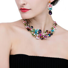 Colorful Crystal Rhinestone Flower Drop Choker Necklace Earrings Jewelry Set