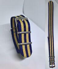 20mm NATO BOND cinturino blu beige per orologio con fibbia Rolex