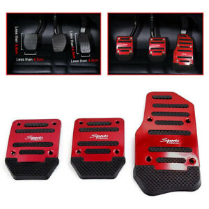 3pcs Red Universal Non-Slip Foot Pedals Pad Cover Car Interior Decor Accessories