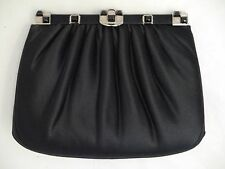 JUDITH LEIBER black satin jeweled clasp clutch bag optional chain strap handbag