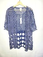 CHICO'S Blue Crochet Short Sleeve Open Knit Cardigan Light Jacket Size 1,M NWT