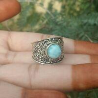 Larimar Ring 925 Sterling Silver Wide Band Ring Designer Ring Anniversary Ring