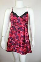Ambrielle Womens Nightgown Size Large Red Blue Floral Lace Trim Silky Nightie