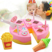 DIY Pretend Play Fruit Cutting Birthday Cake Kitchen Food Kids Girl Gift Toys LY