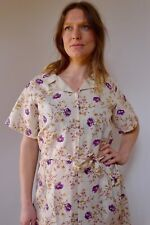 Vintage true 70s unused 18 2XL cotton linen plus size shirt purple roses dress