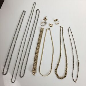 Vintage Silver Coloured Rolled Gold Pendant Necklace Earrings Jewellery Job Lot