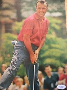 HAND SIGNED TWICE- MAGAZINE PAGE OF THE LATE LEGEND ARNOLD PALMER-CERTIFIED-JSA