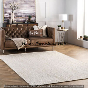3x5ft Natural JuteCotton Braided Indian Weave Carpet Decorative Mat Handmade Rug