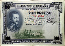 Spain banknote - 100 cien pesetas - year 1925 - King Philip II - free shipping