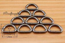 d ring d-rings purse ring Webbing Strapping metal gunmetal 1/2 inch 20pcs U170