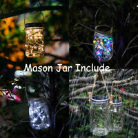 Solar Powered Mason Jar Lid Lights 20 LED Night Fairy String Lights Garden Decor