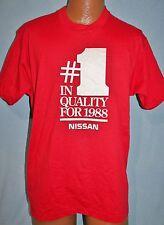 Vintage 80s NISSAN #1 In Quality For 1988 Red 50/50 T-SHIRT L Cars Trucks Vtg