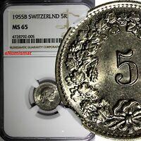 SWITZERLAND Copper-Nickel 1955 B 5 Rappen NGC MS65 HELVETICA KM# 26