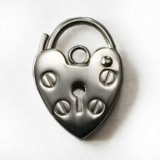 Solid 925 Sterling Silver Small Heart Shape Padlock Fastener Clasp Charm Pendant